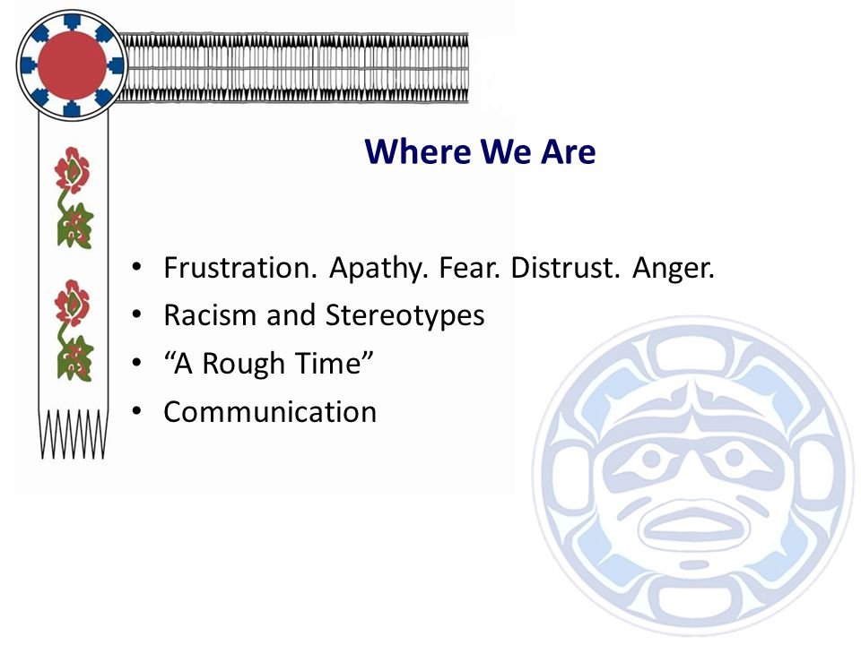 """Where We Are Frustration. Apathy. Fear. Distrust. Anger. Racism and Stereotypes """"A Rough Time"""" Communication"""