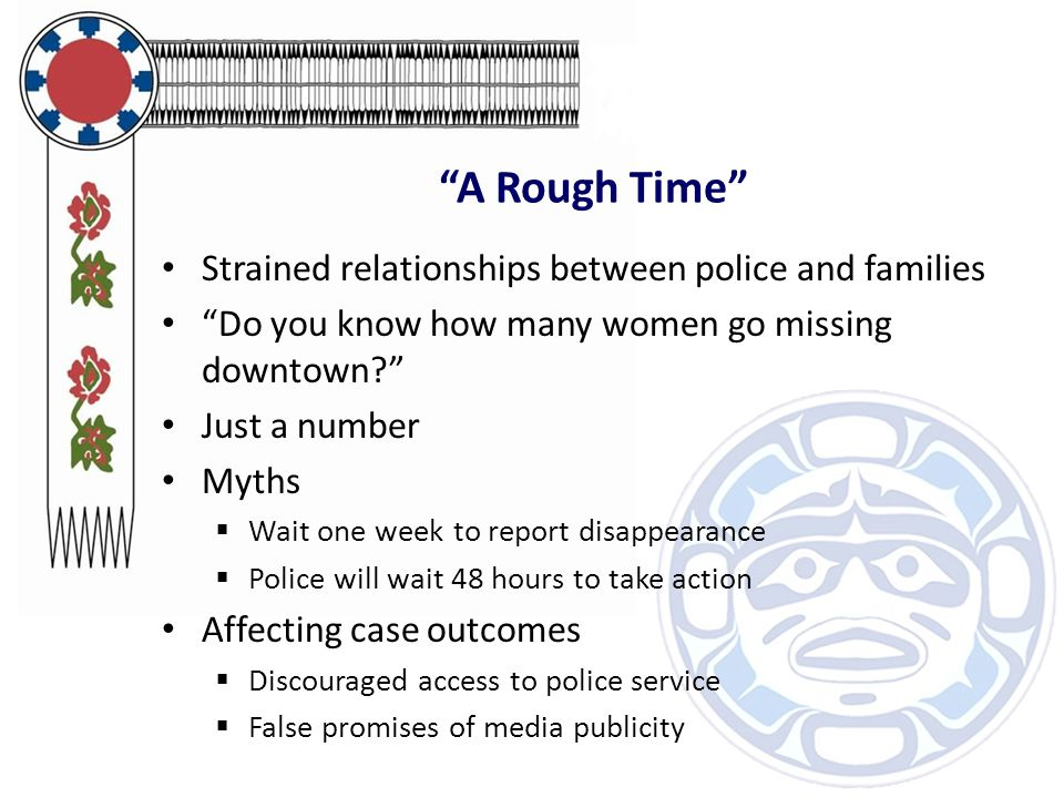 """""""A Rough Time"""" Strained relationships between police and families """"Do you know how many women go missing downtown?"""" Just a number Myths  Wait one wee"""
