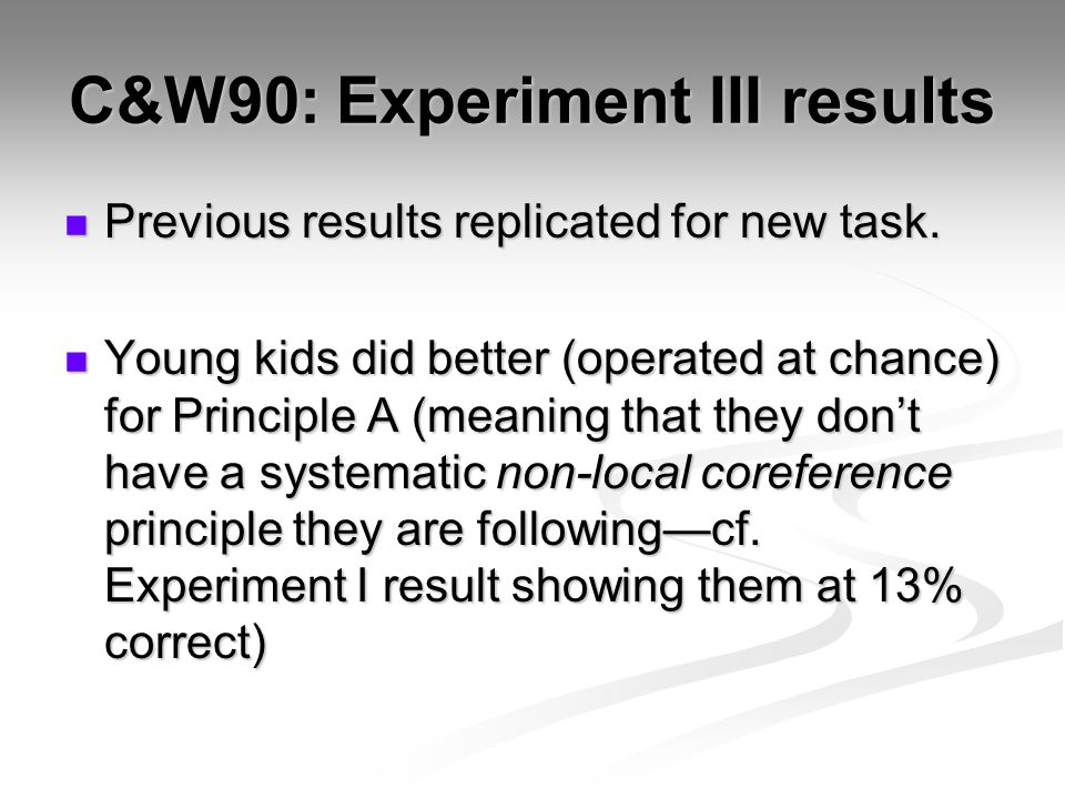 C&W90: Experiment III results Previous results replicated for new task.