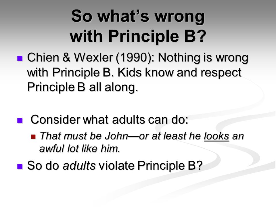 So what's wrong with Principle B. Chien & Wexler (1990): Nothing is wrong with Principle B.