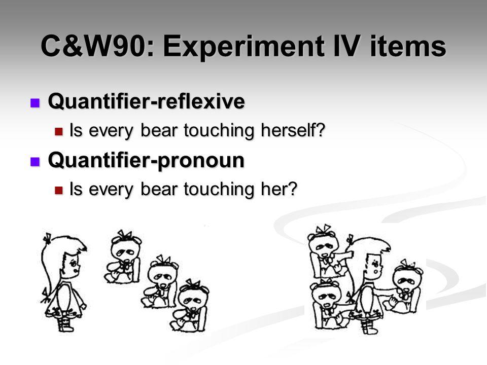 C&W90: Experiment IV items Quantifier-reflexive Quantifier-reflexive Is every bear touching herself.