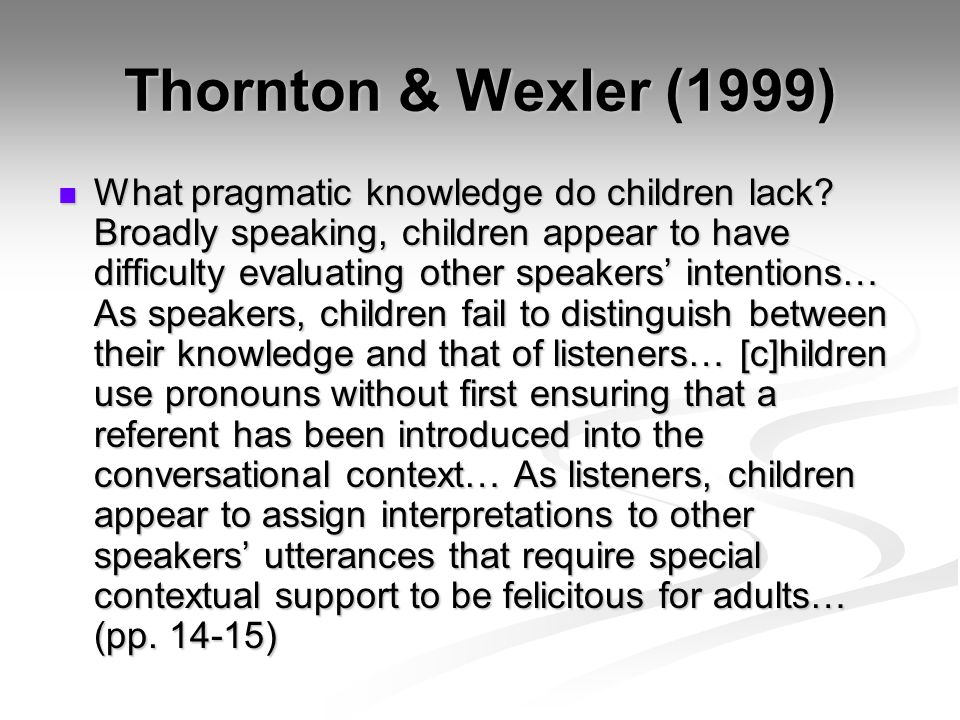 Thornton & Wexler (1999) What pragmatic knowledge do children lack.