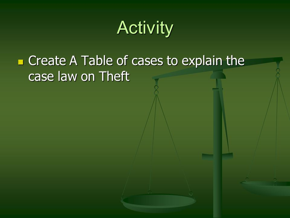 Activity Create A Table of cases to explain the case law on Theft Create A Table of cases to explain the case law on Theft