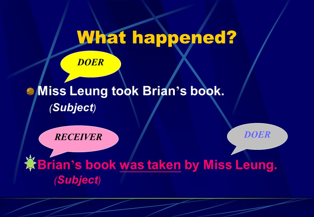 What happened. Miss Leung took Brian ' s book. Brian ' s book was taken by Miss Leung.