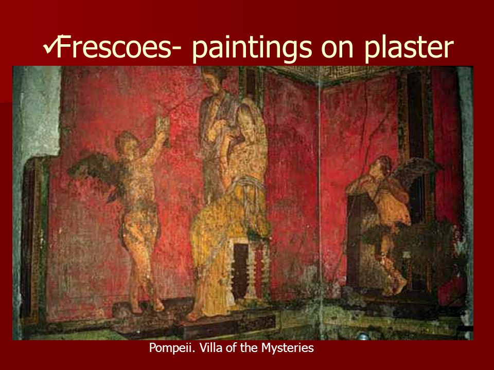 Frescoes- paintings on plaster Pompeii. Villa of the Mysteries