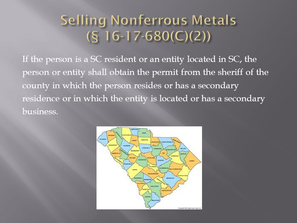 If the person is a SC resident or an entity located in SC, the person or entity shall obtain the permit from the sheriff of the county in which the person resides or has a secondary residence or in which the entity is located or has a secondary business.