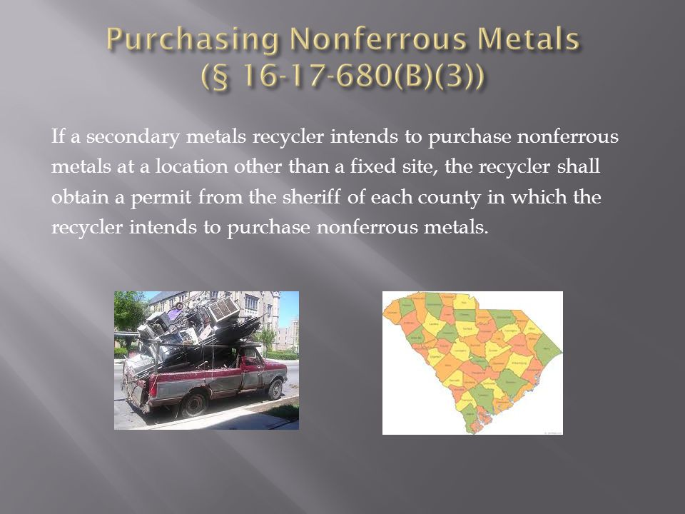 If a secondary metals recycler intends to purchase nonferrous metals at a location other than a fixed site, the recycler shall obtain a permit from the sheriff of each county in which the recycler intends to purchase nonferrous metals.