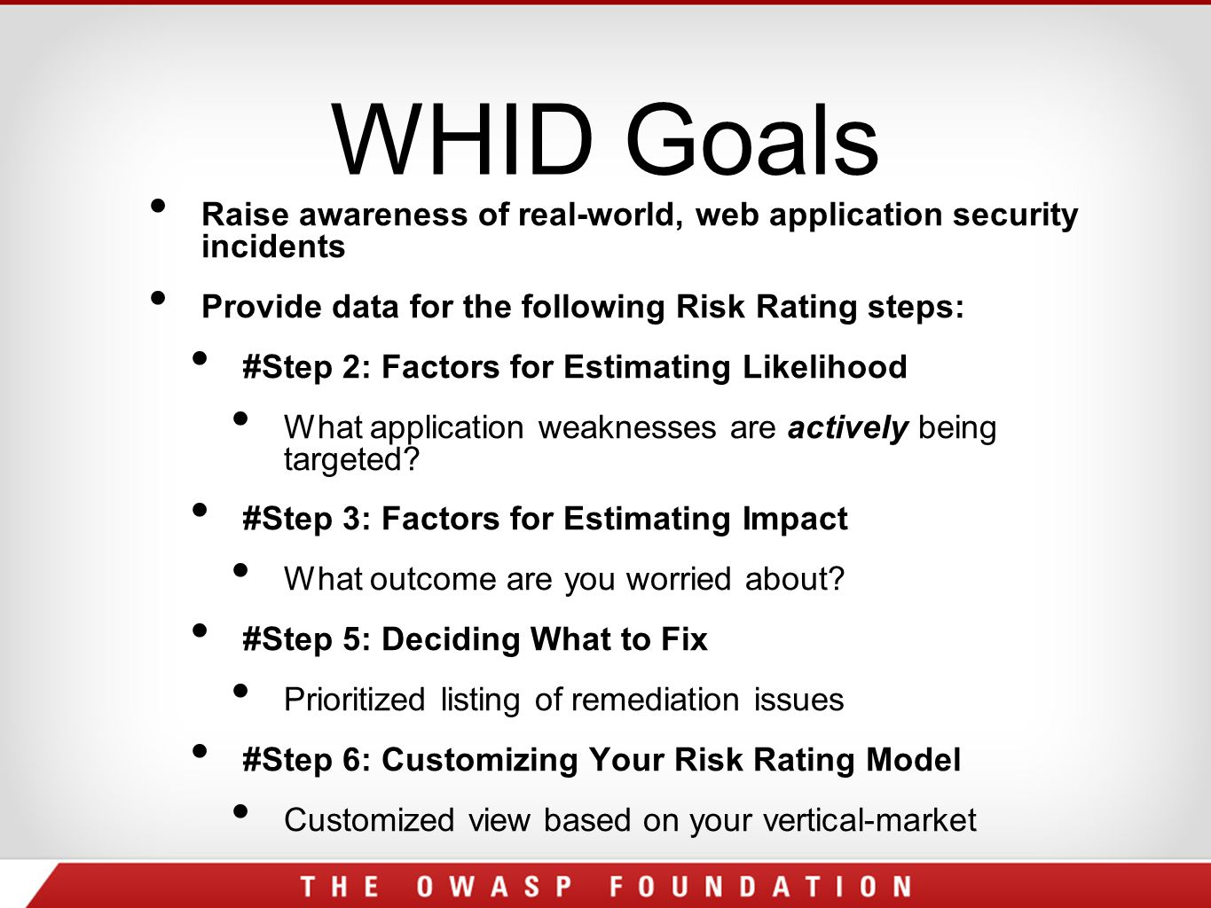 WHID Goals Raise awareness of real-world, web application security incidents Provide data for the following Risk Rating steps: #Step 2: Factors for Estimating Likelihood What application weaknesses are actively being targeted.