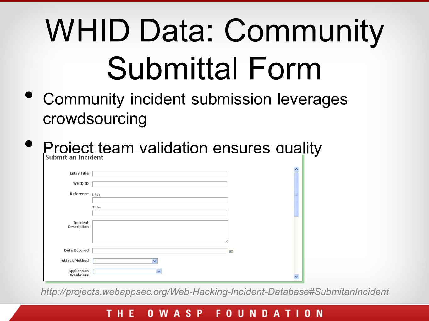 WHID Data: Community Submittal Form Community incident submission leverages crowdsourcing Project team validation ensures quality http://projects.webappsec.org/Web-Hacking-Incident-Database#SubmitanIncident