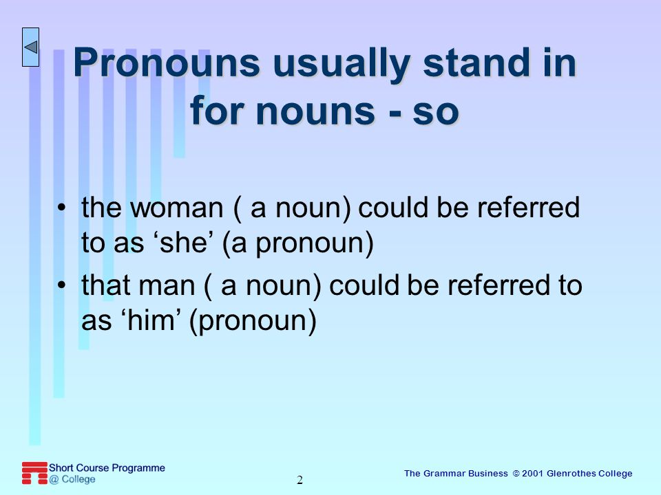 The Grammar Business © 2001 Glenrothes College 2 Pronouns usually stand in for nouns - so the woman ( a noun) could be referred to as 'she' (a pronoun) that man ( a noun) could be referred to as 'him' (pronoun)