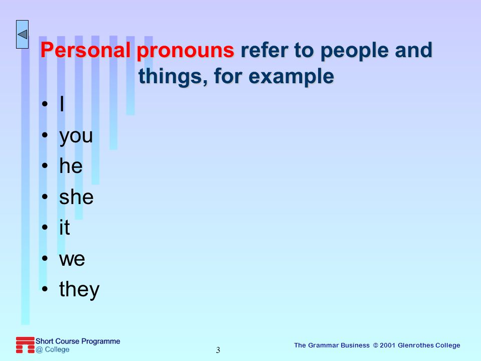 The Grammar Business © 2001 Glenrothes College 3 Personal pronouns refer to people and things, for example I you he she it we they