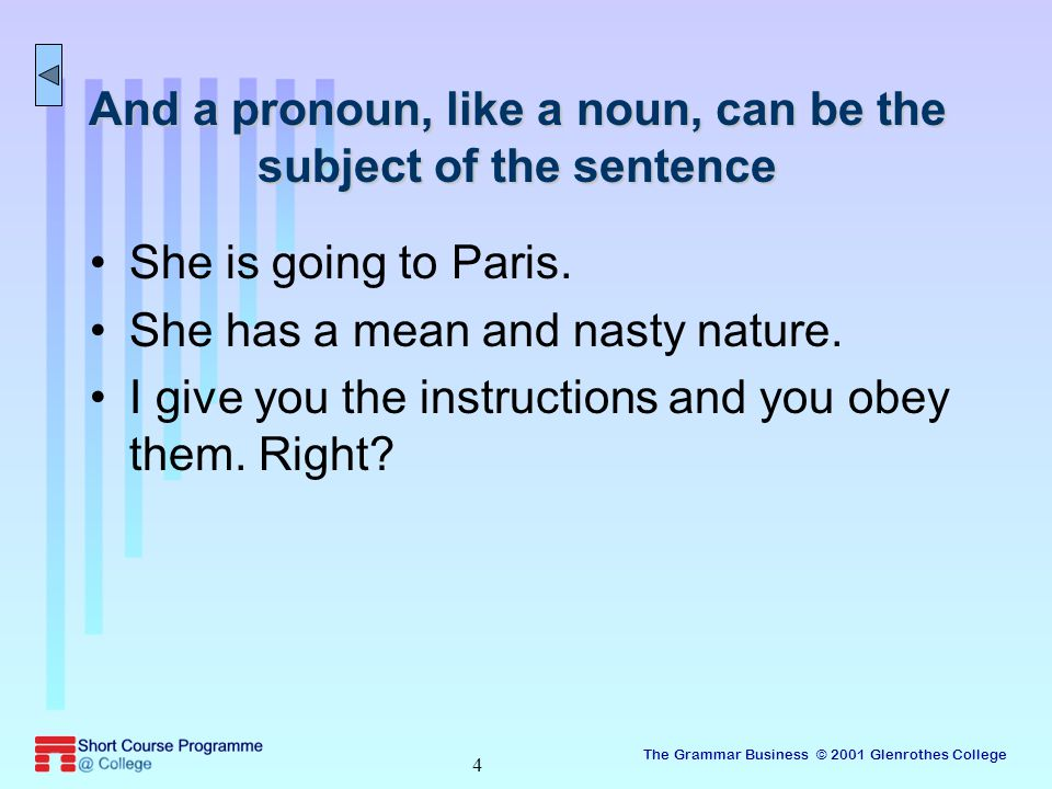 The Grammar Business © 2001 Glenrothes College 15 The who/whom confusion Remember the personal pronouns.