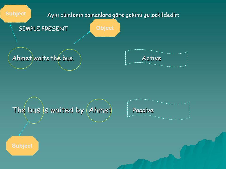 Aynı cümlenin zamanlara göre çekimi şu şekildedir: SIMPLE PRESENT Ahmet waits the bus. Active The bus is waited by Ahmet Passive Subject Object Subjec