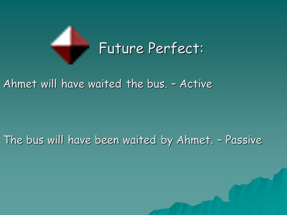 Future Perfect: Future Perfect: Ahmet will have waited the bus.