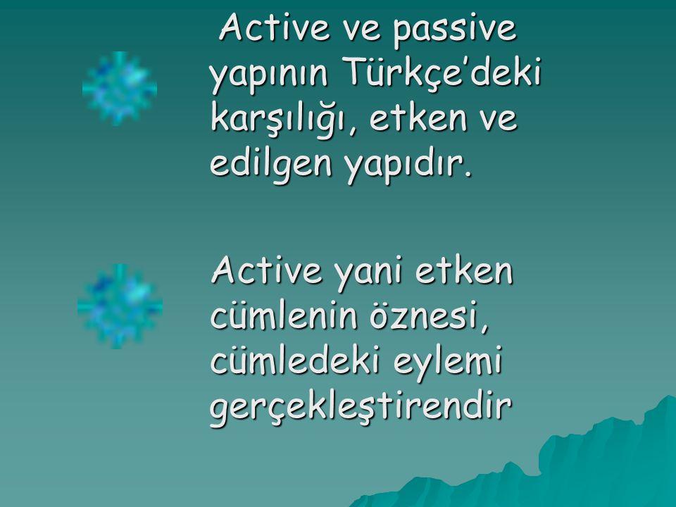 Active ve passive yapının Türkçe'deki karşılığı, etken ve edilgen yapıdır.