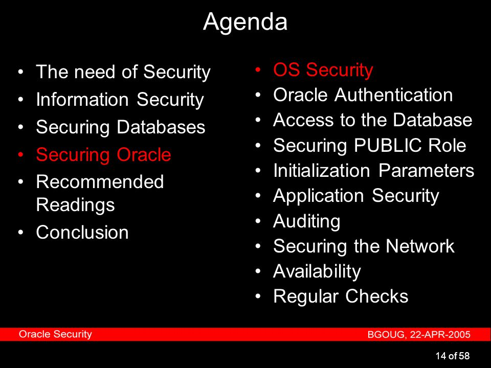 14 of 58 Agenda The need of Security Information Security Securing Databases Securing Oracle Recommended Readings Conclusion OS Security Oracle Authen