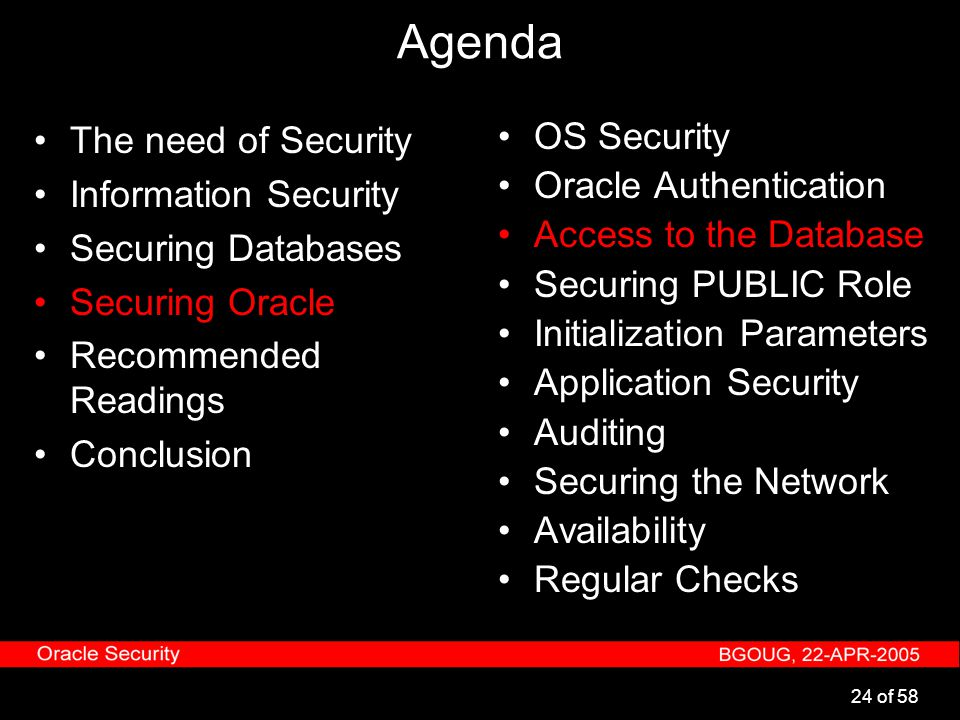 24 of 58 Agenda The need of Security Information Security Securing Databases Securing Oracle Recommended Readings Conclusion OS Security Oracle Authen