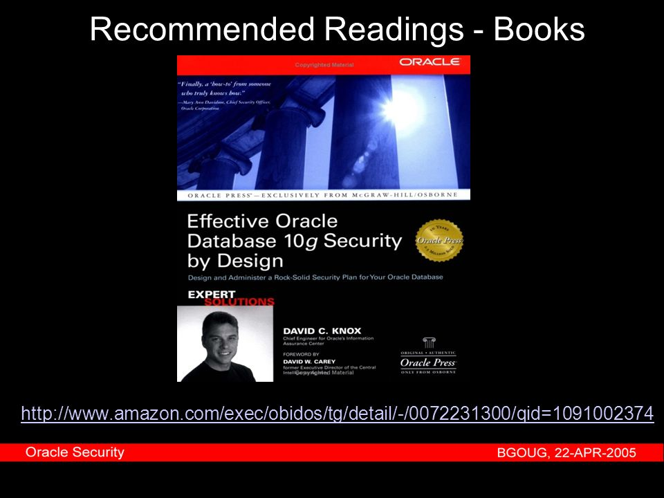 Recommended Readings - Books http://www.amazon.com/exec/obidos/tg/detail/-/0072231300/qid=1091002374