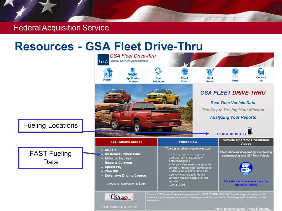 Federal Acquisition Service Resources - GSA Fleet Drive-Thru Fueling Locations FAST Fueling Data