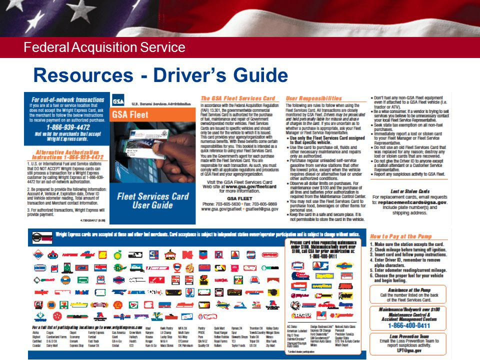 Federal Acquisition Service Resources - Driver's Guide