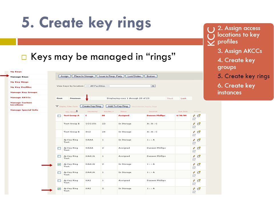 5. Create key rings KCC 2. Assign access locations to key profiles 3.