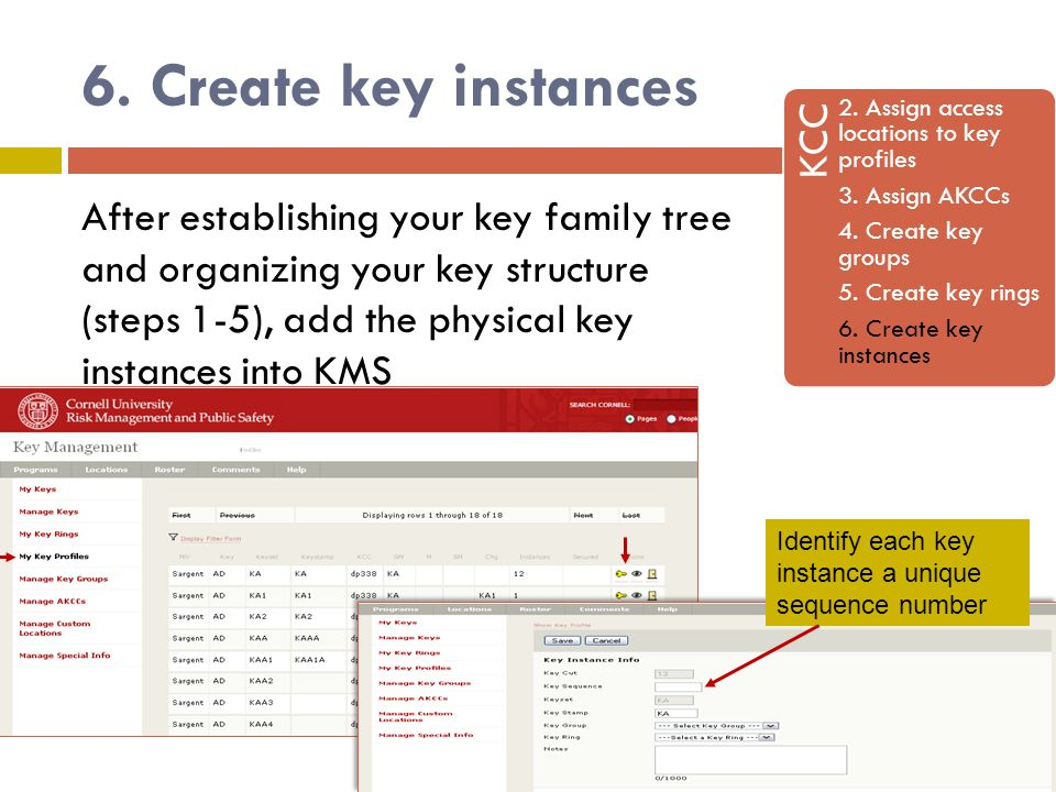 6. Create key instances KCC 2. Assign access locations to key profiles 3.