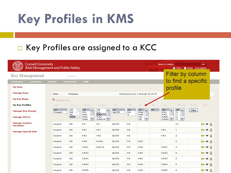Key Profiles in KMS  Key Profiles are assigned to a KCC Filter by column to find a specific profile