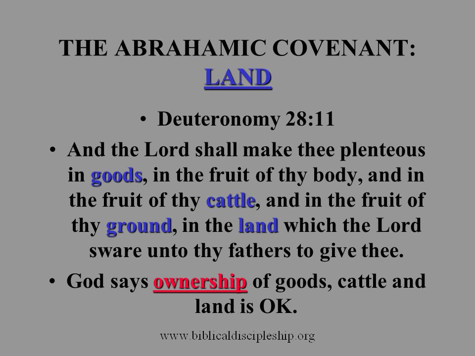 LAND THE ABRAHAMIC COVENANT: LAND Deuteronomy 28:11 goods cattle groundlandAnd the Lord shall make thee plenteous in goods, in the fruit of thy body,
