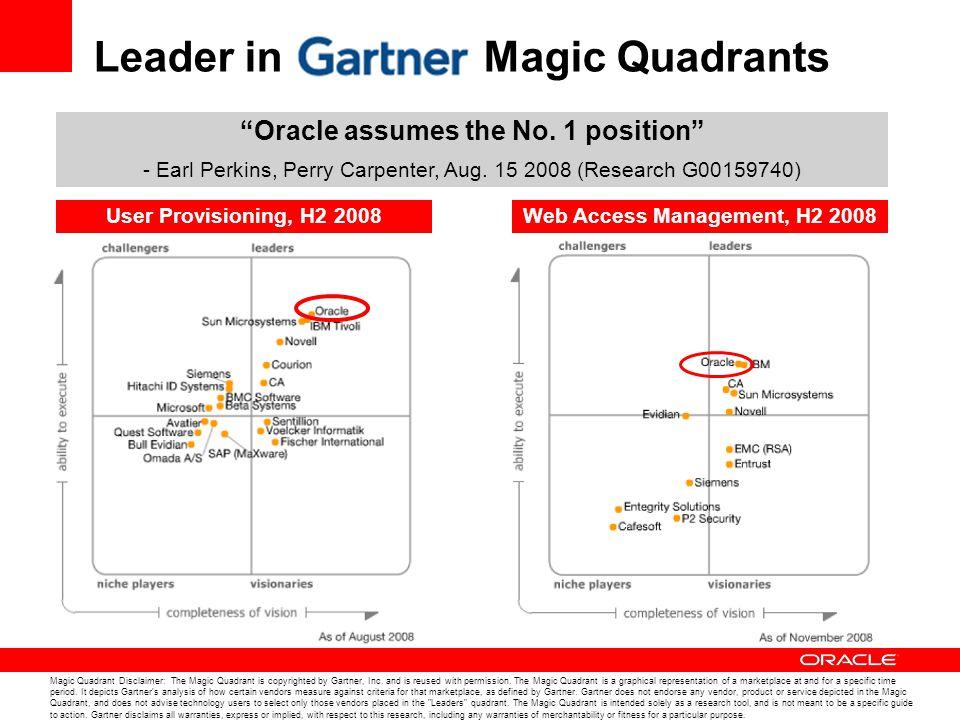 Leader in Magic Quadrants Magic Quadrant Disclaimer: The Magic Quadrant is copyrighted by Gartner, Inc. and is reused with permission. The Magic Quadr