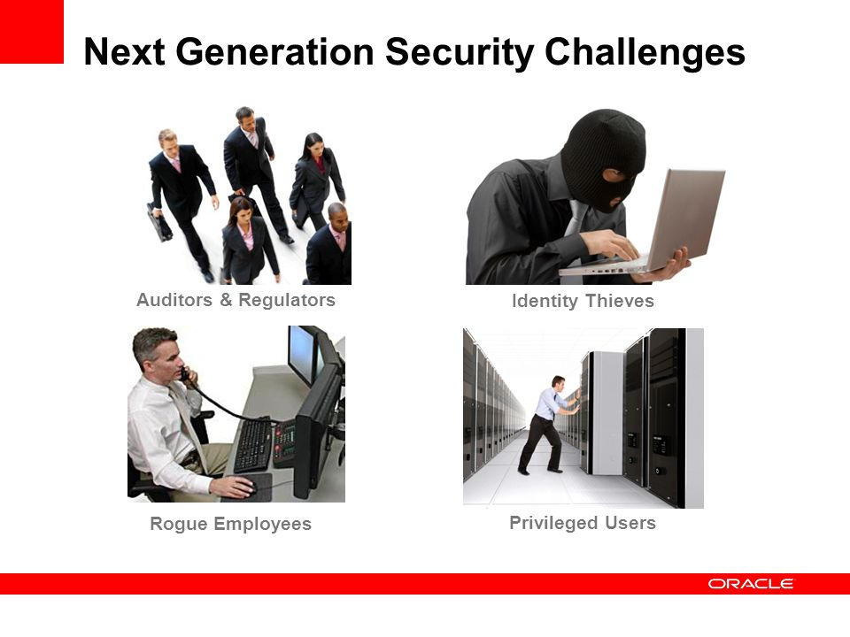 Next Generation Security Challenges Auditors & Regulators Identity Thieves Rogue Employees Privileged Users