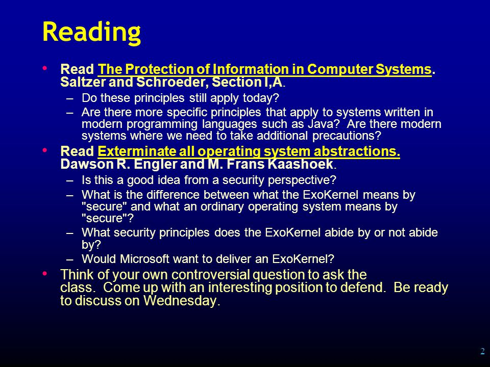 2 Reading Read The Protection of Information in Computer Systems.