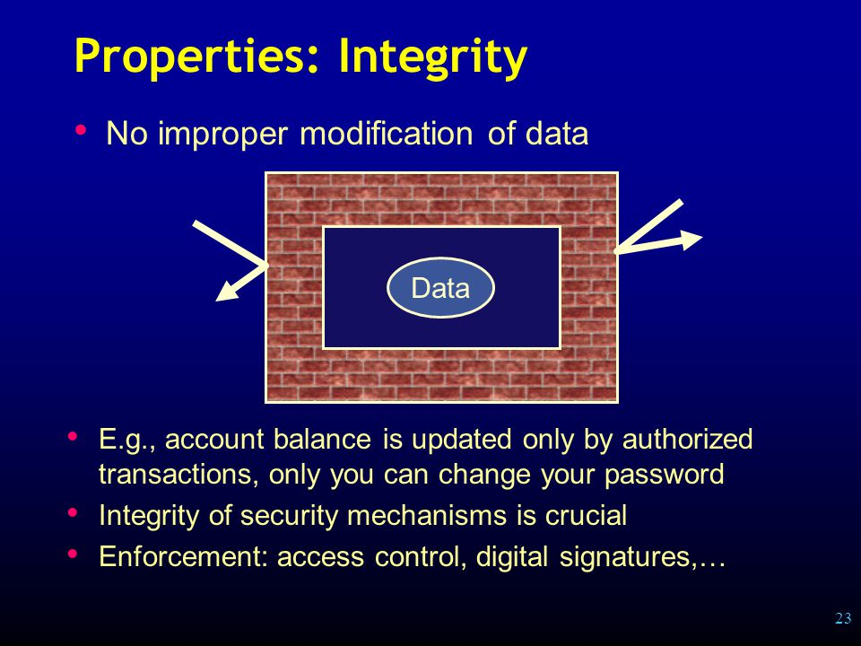 23 Properties: Integrity No improper modification of data Data E.g., account balance is updated only by authorized transactions, only you can change your password Integrity of security mechanisms is crucial Enforcement: access control, digital signatures,…