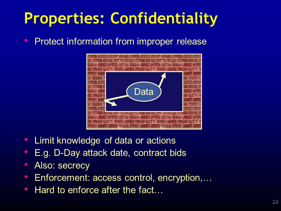 24 Properties: Confidentiality Protect information from improper release Limit knowledge of data or actions E.g.