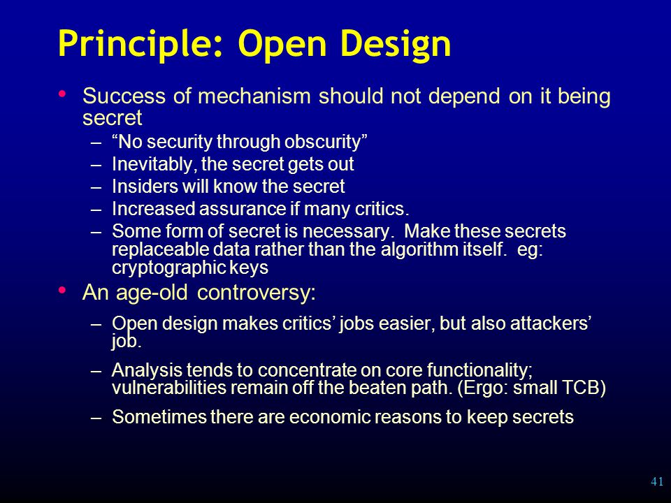 41 Principle: Open Design Success of mechanism should not depend on it being secret – No security through obscurity –Inevitably, the secret gets out –Insiders will know the secret –Increased assurance if many critics.