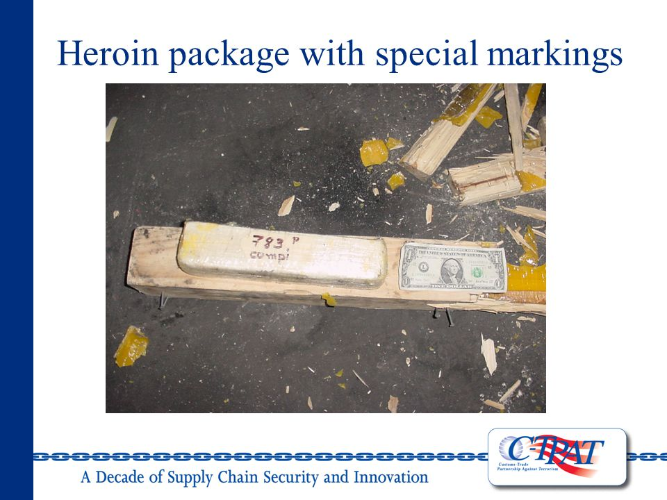 Heroin package with special markings