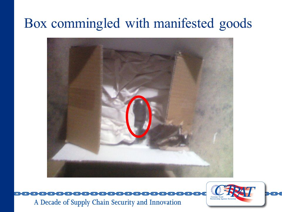 Box commingled with manifested goods