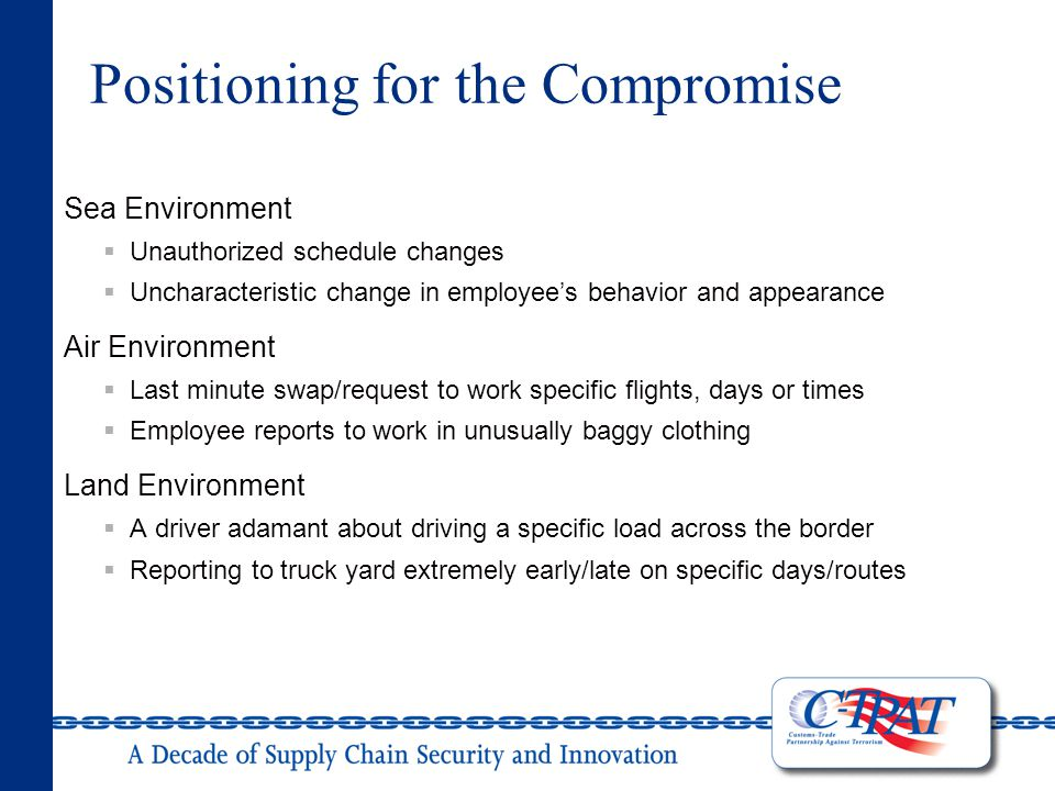 Positioning for the Compromise Sea Environment  Unauthorized schedule changes  Uncharacteristic change in employee's behavior and appearance Air Environment  Last minute swap/request to work specific flights, days or times  Employee reports to work in unusually baggy clothing Land Environment  A driver adamant about driving a specific load across the border  Reporting to truck yard extremely early/late on specific days/routes
