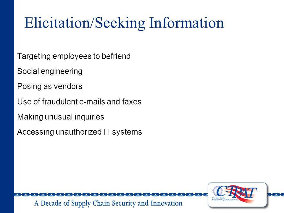 Elicitation/Seeking Information Targeting employees to befriend Social engineering Posing as vendors Use of fraudulent e-mails and faxes Making unusual inquiries Accessing unauthorized IT systems