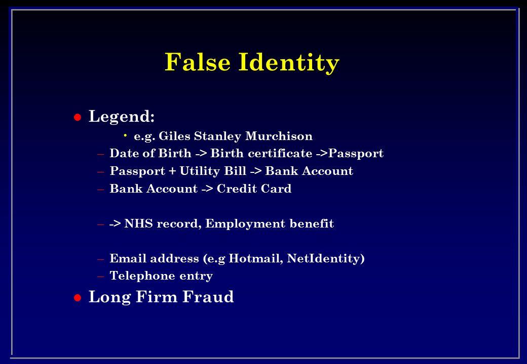 False Identity l Legend: e.g.