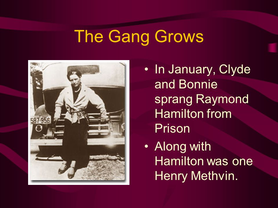 The Gang Grows In January, Clyde and Bonnie sprang Raymond Hamilton from Prison Along with Hamilton was one Henry Methvin.