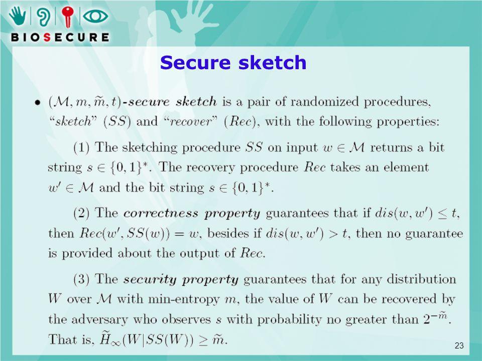 Secure sketch 23