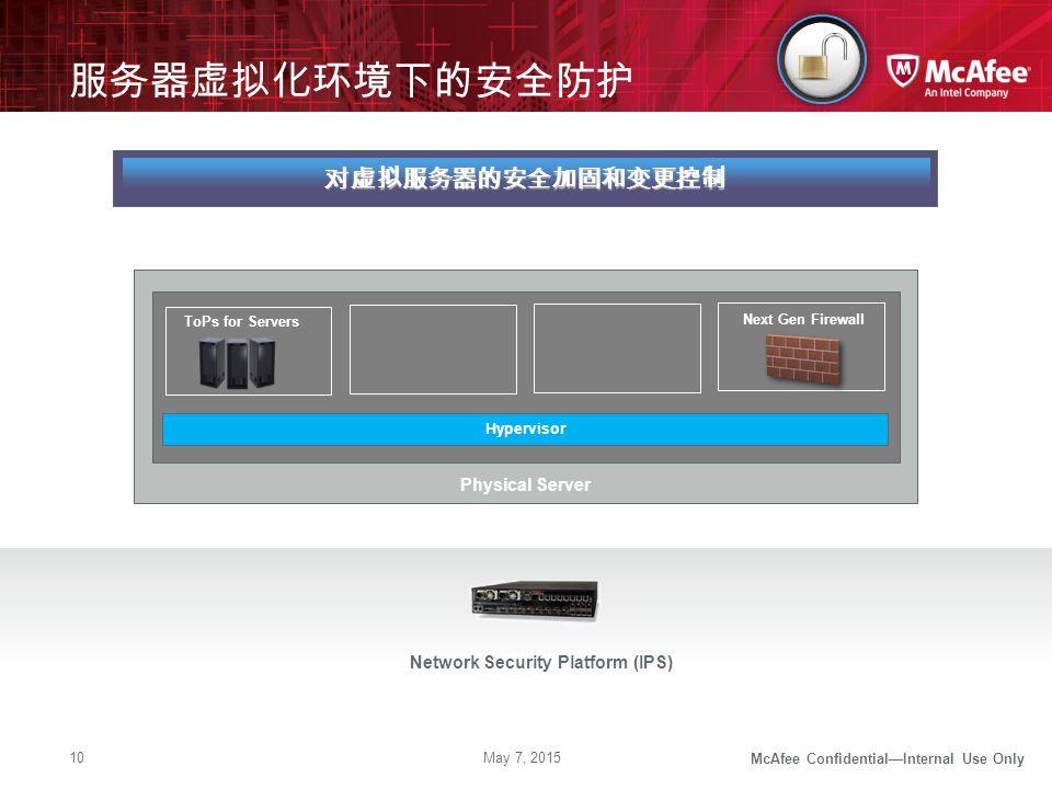McAfee Confidential—Internal Use Only 服务器虚拟化环境下的安全防护 May 7, 201510 Traditional IPS Network Security Platform (IPS) 对虚拟服务器的安全加固和变更控制 Hypervisor Physica