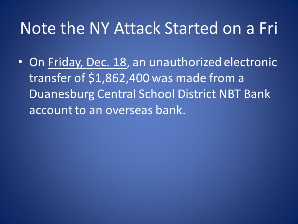 Note the NY Attack Started on a Fri On Friday, Dec.