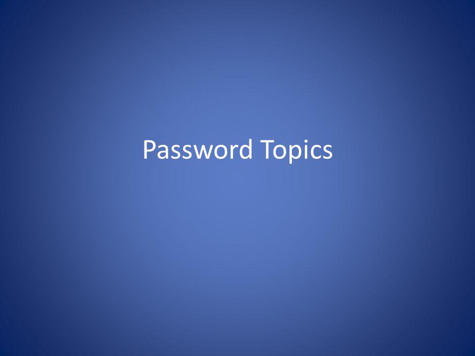 Password Topics