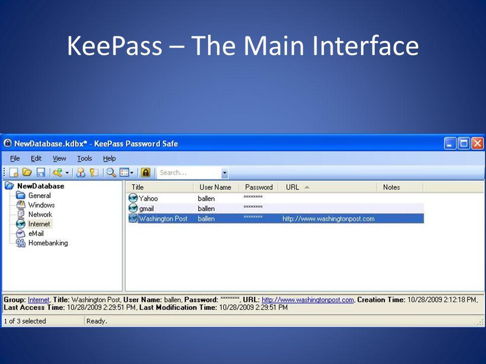 KeePass – The Main Interface
