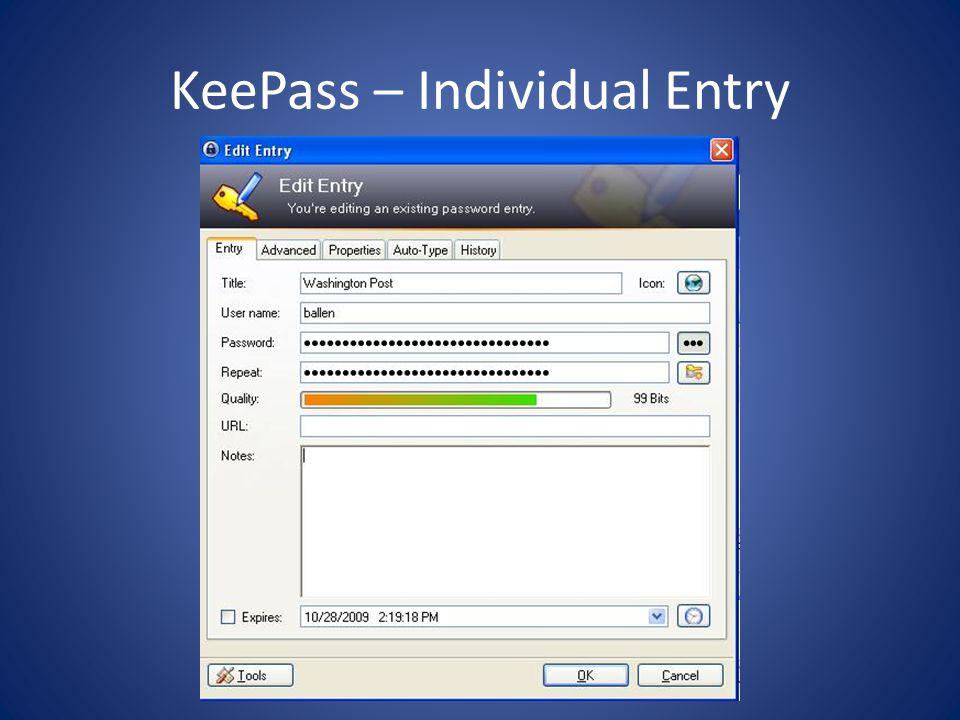 KeePass – Individual Entry