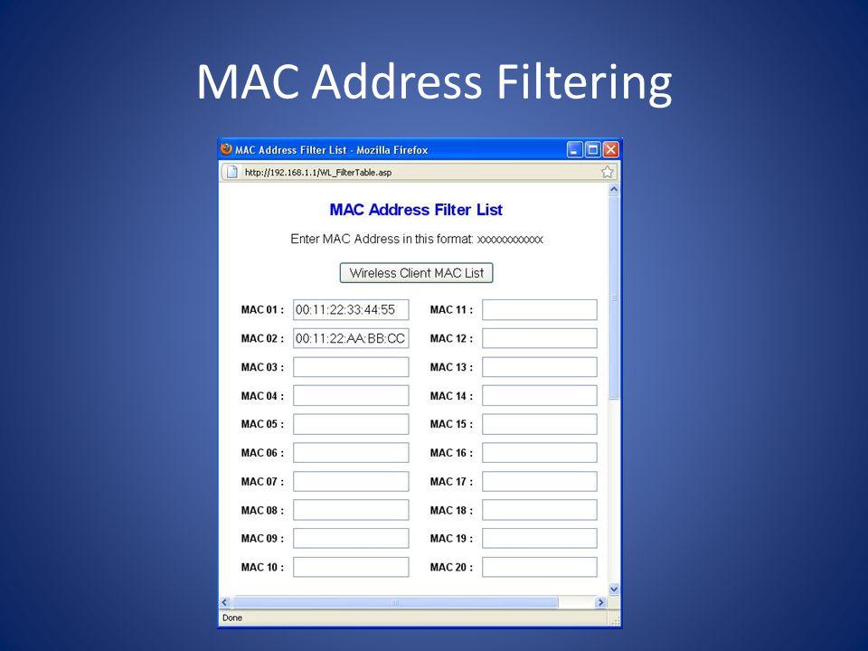 MAC Address Filtering
