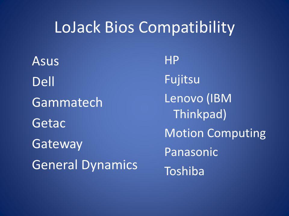 LoJack Bios Compatibility Asus Dell Gammatech Getac Gateway General Dynamics HP Fujitsu Lenovo (IBM Thinkpad) Motion Computing Panasonic Toshiba