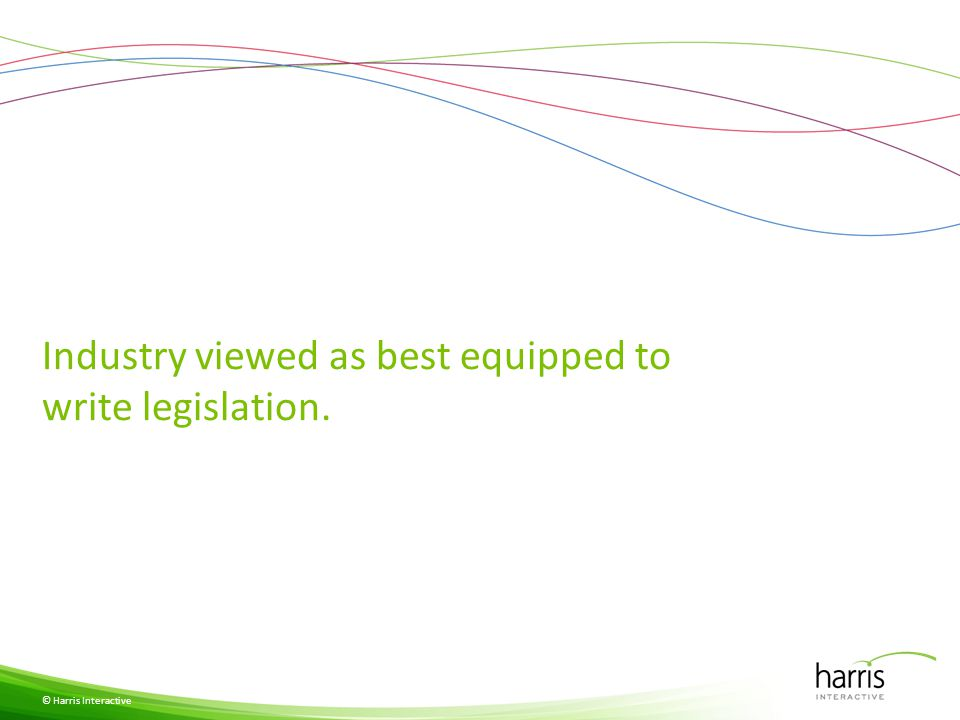 Industry viewed as best equipped to write legislation. © Harris Interactive