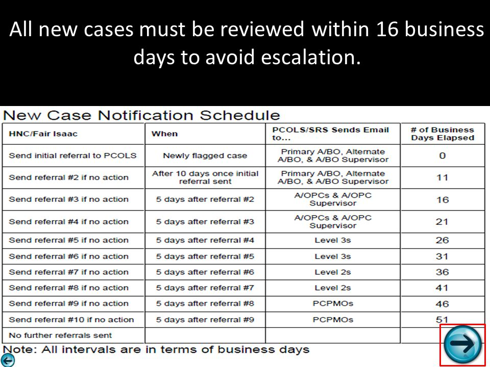 All new cases must be reviewed within 16 business days to avoid escalation.